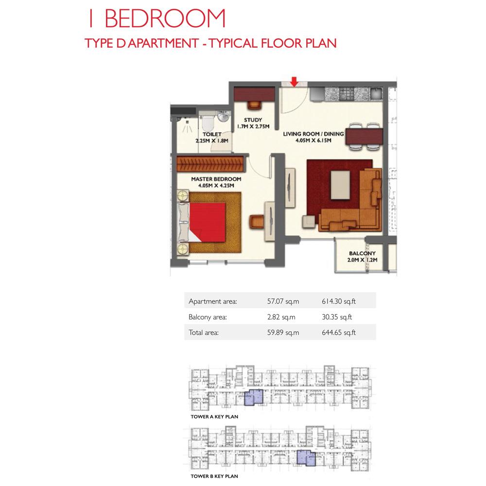 1 Bedroom -Type D, Size 644.65-sqft