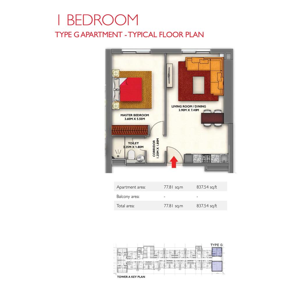 1 Bedroom -Type G,  Size 837.54-sqft