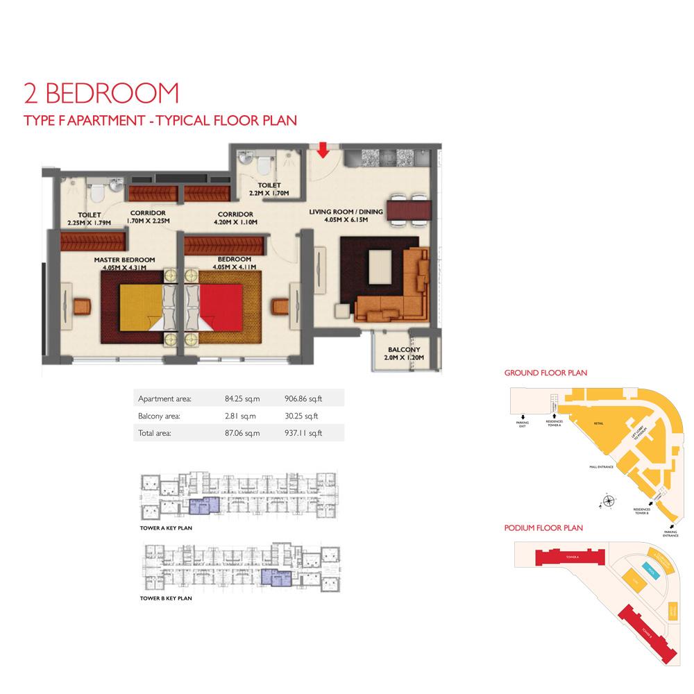 2 Bedroom -Type F, Size 937.11-sqft