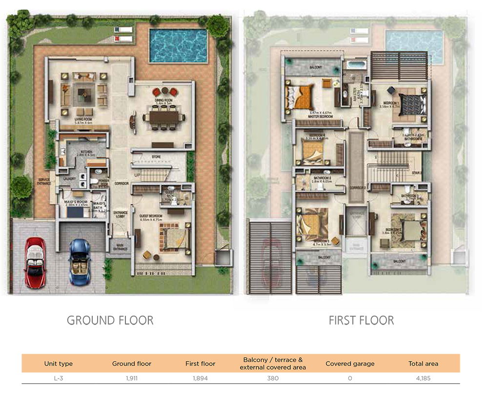 4 BR, Unit Type L-3, Ground & First Floor