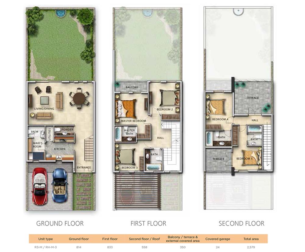 4 Bedroom Unit Type R3-M&RH-M-3 Size 2579 sqft