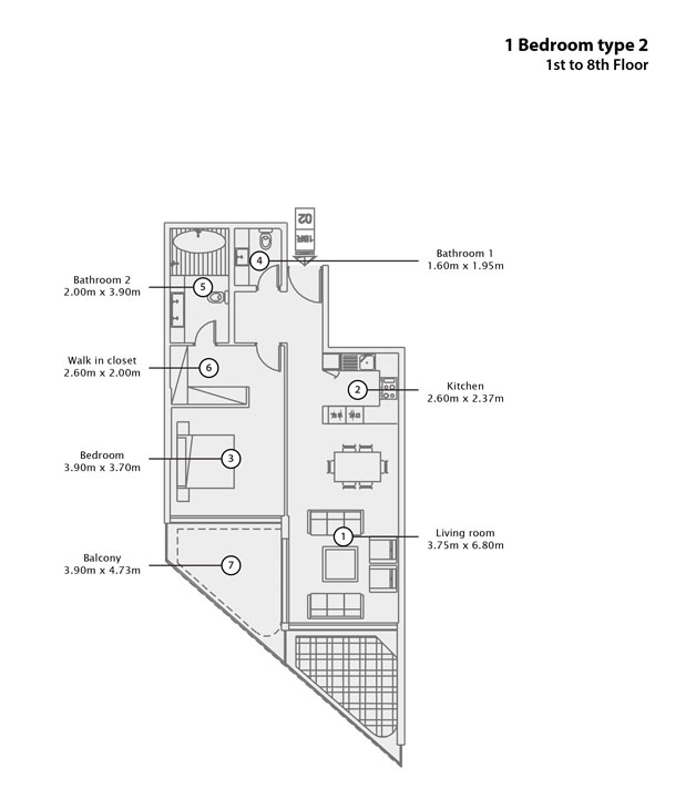1 BR Type 2, 1st to 8th Floor