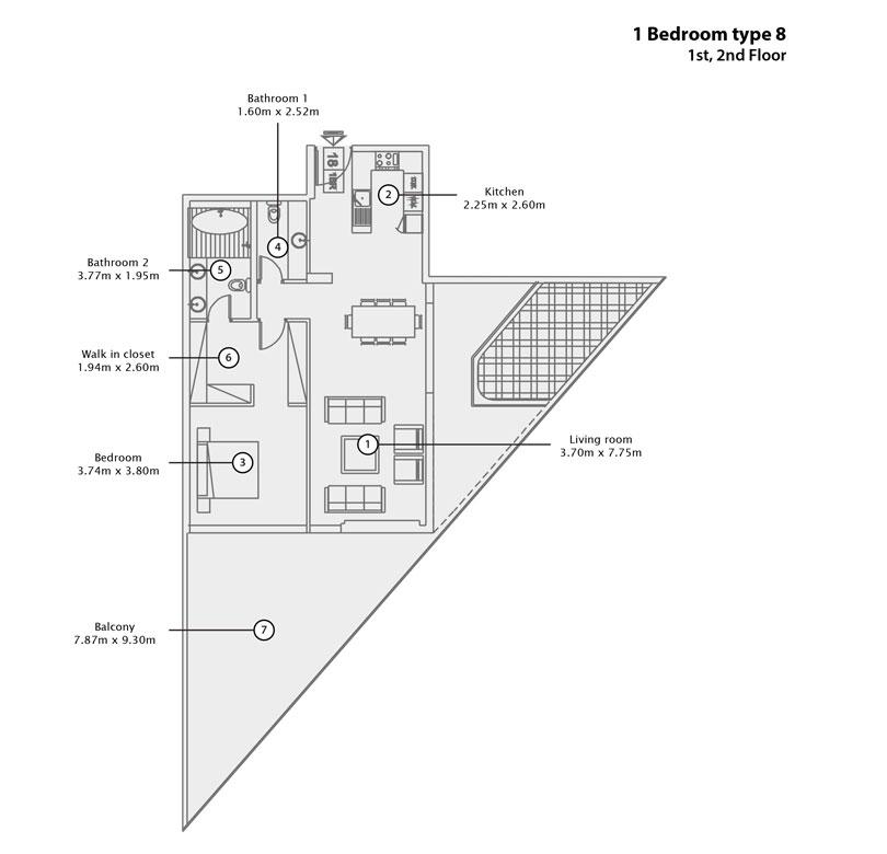 1 BR Type 8, 1st 2nd Floor