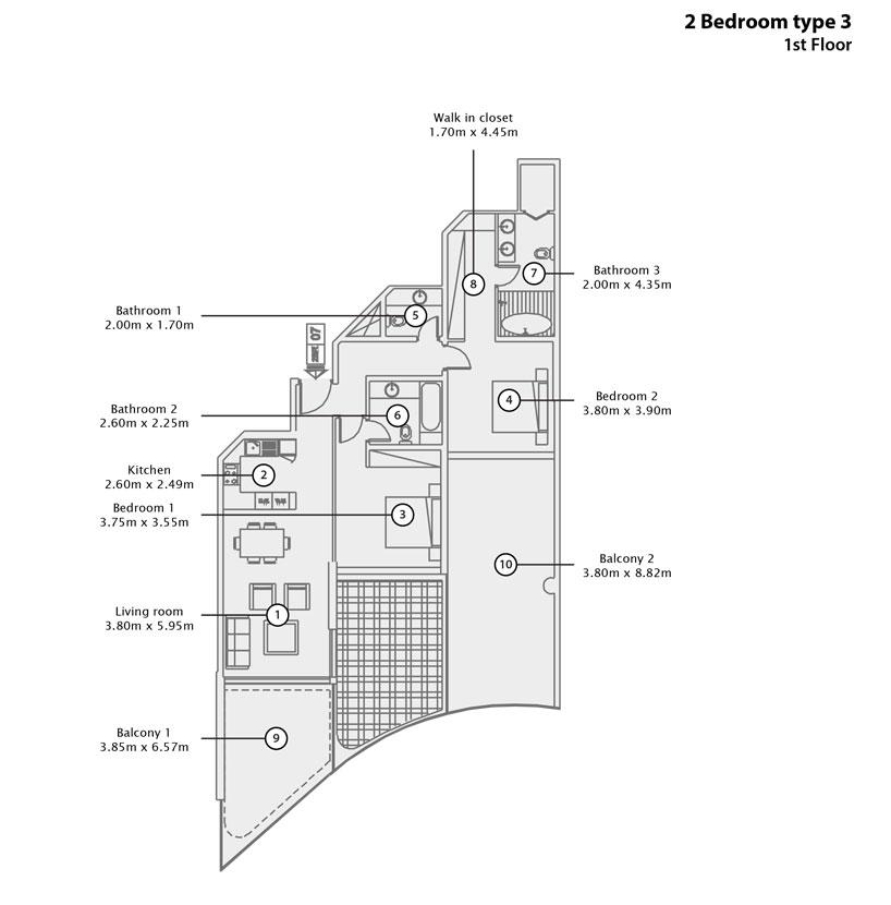 2 BR Type 3, 1st Floor