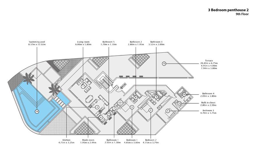 3 BR Penthouse 2, 9th Floor