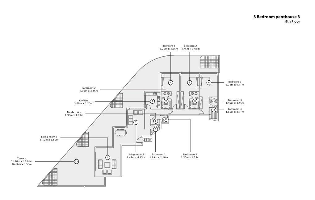 3 BR Penthouse 3, 9th Floor