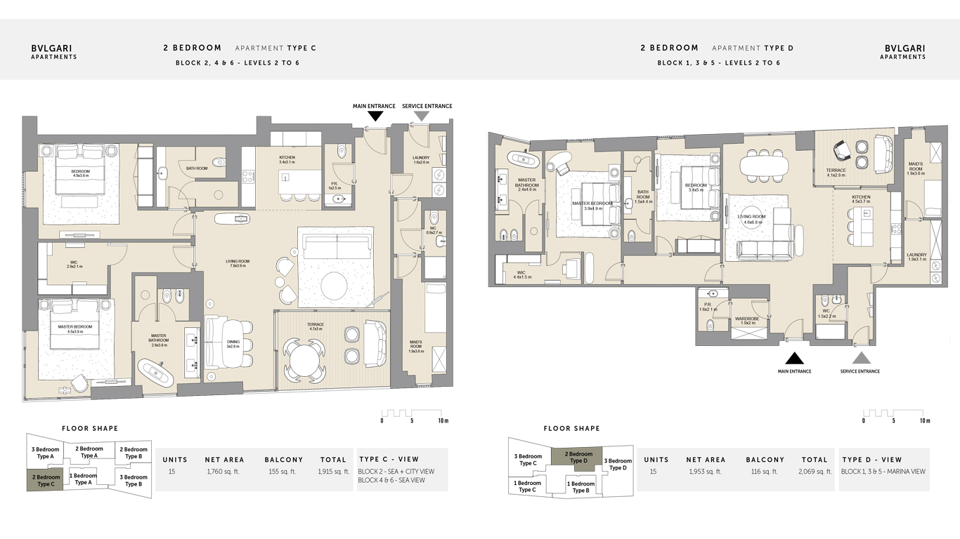 2 bedroom Type C Levels 2 to 6 , Size 1915 Sq Ft