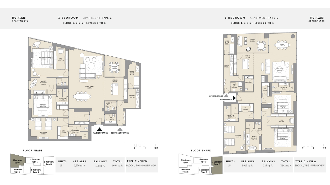 3 Bedroom Apartment Type C Level 2 to 6 , Size 2694 Sq Ft