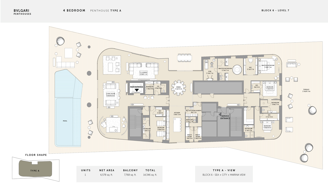4 Bedroom Penthouse Type A , Size 14,346 Sq Ft