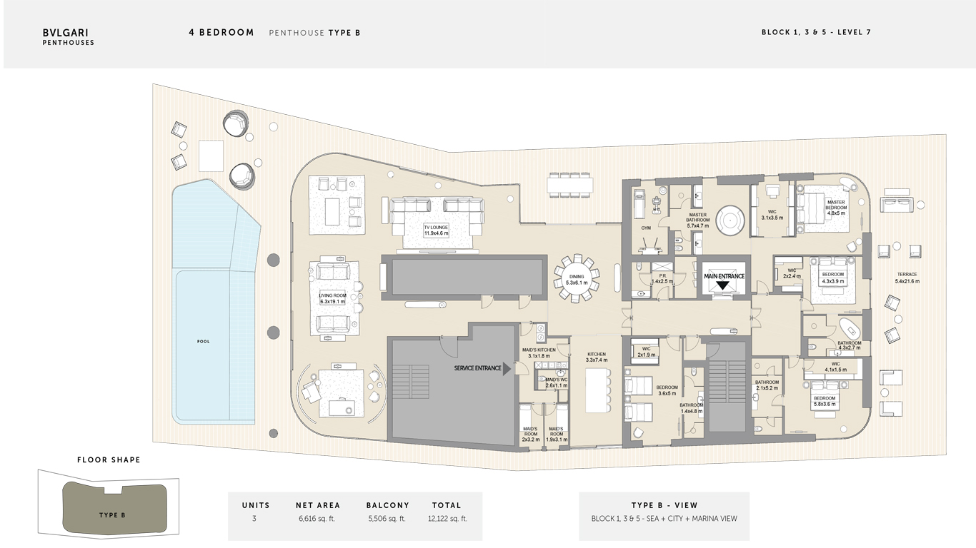 4 Bedroom Penthouse Type B , Size 12,122 Sq Ft