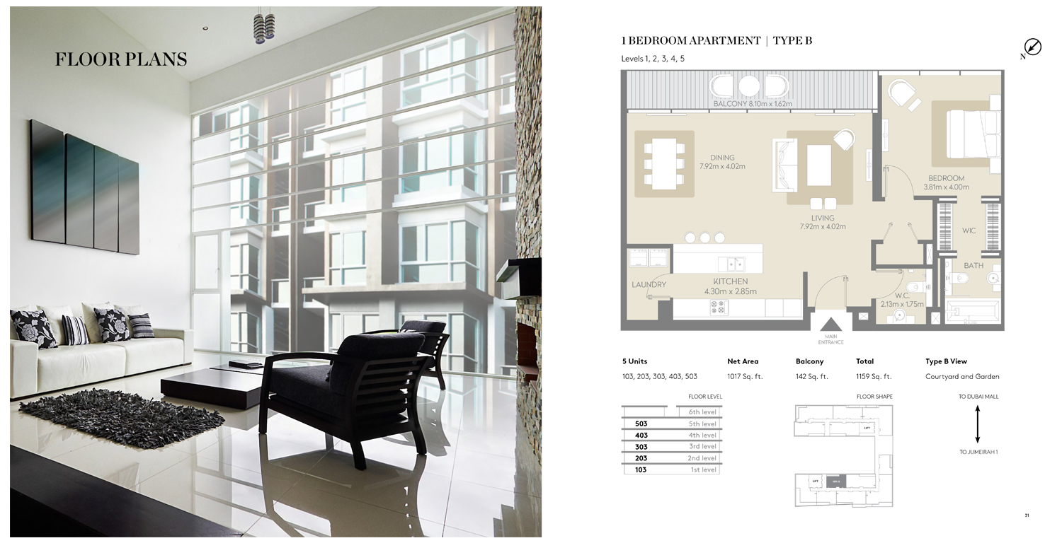 1 Bedroom Apartment Type B, Size 1159 Sq ft