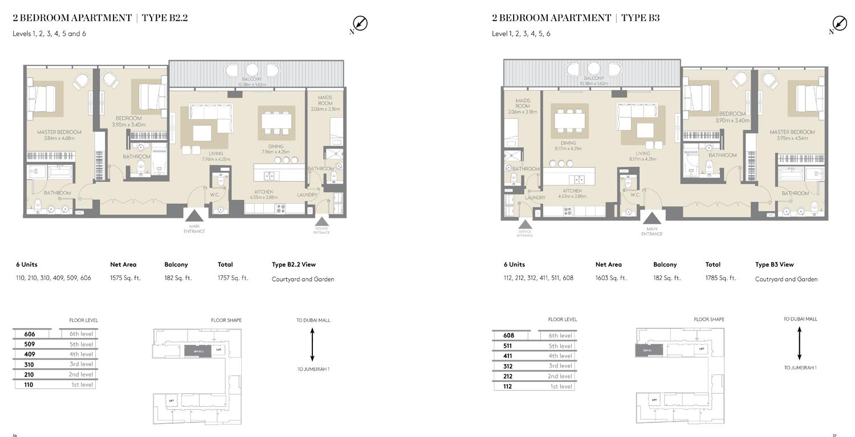 2 Bedroom Apartment Type B 2.2,B2, Size 1757 Sq ft