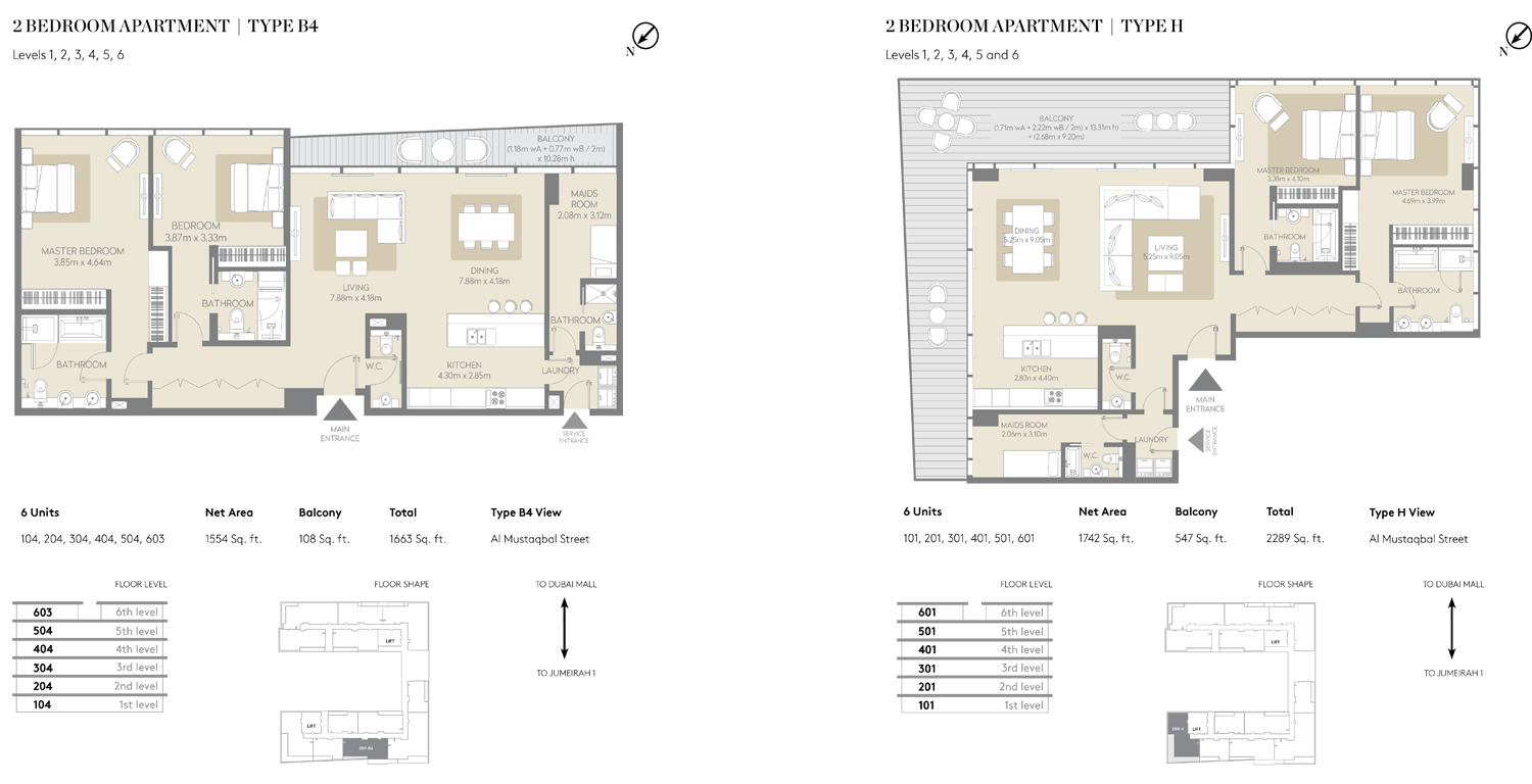 2 Bedroom Apartment Type B4, Type H Size 1663 Sq ft