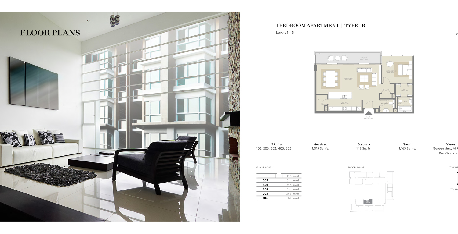 1 Bedroom Apartment Type B, Size 1163 Sq Ft