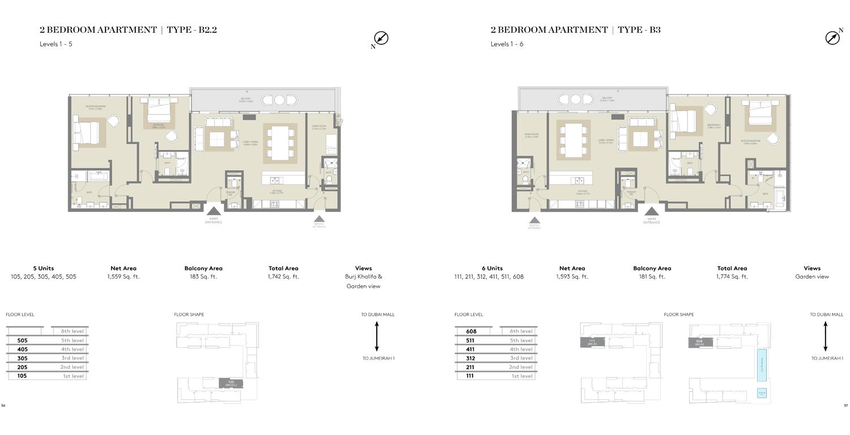 2 Bedroom Type B2.2, Type B3,Size 1742 Sq Ft
