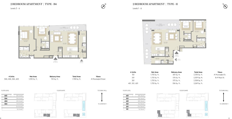 2 Bedroom Type B4, Type H,Size 1708 Sq Ft