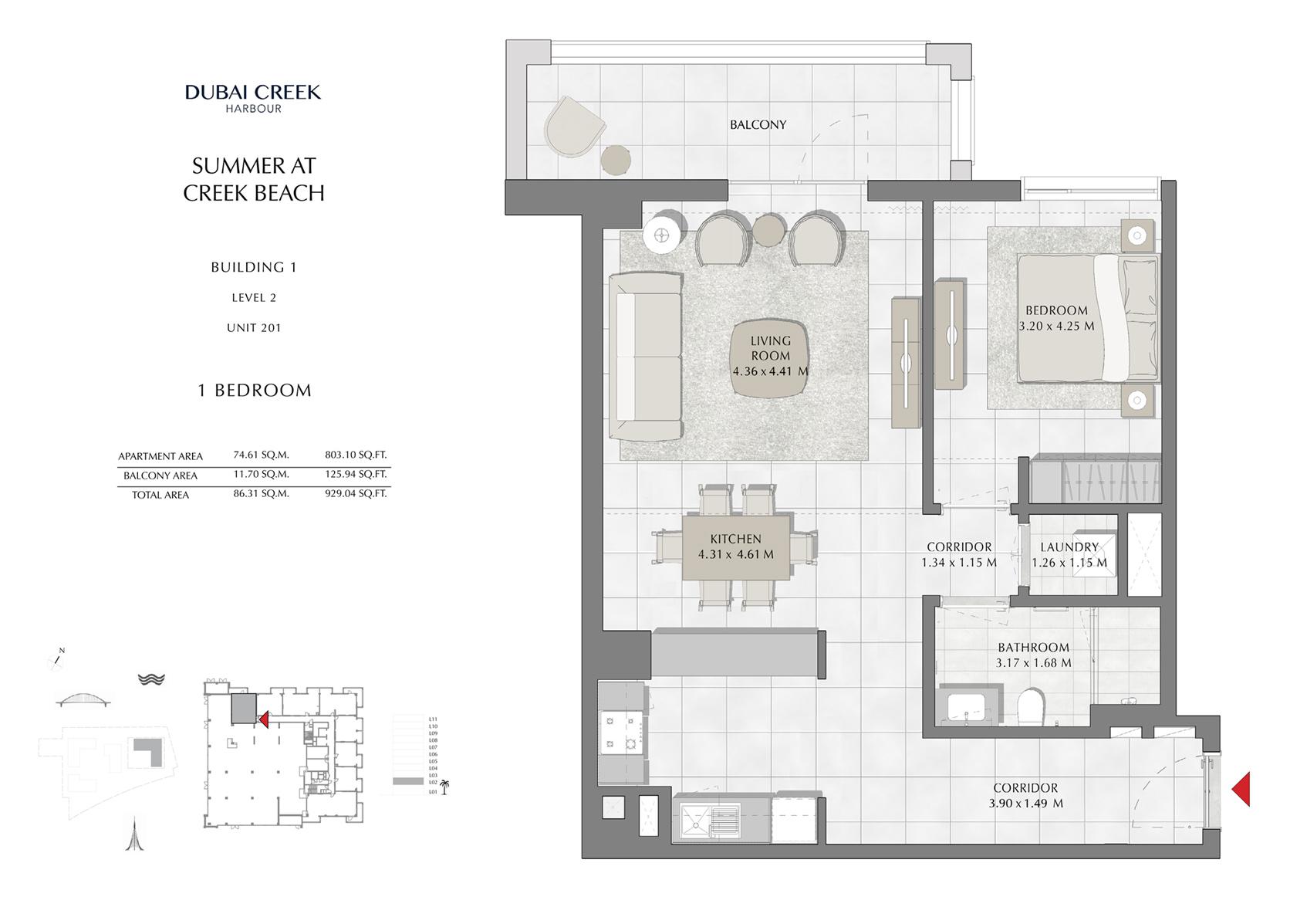 1 Br Building 1 Level 2 Unit 201, Size 929 Sq Ft