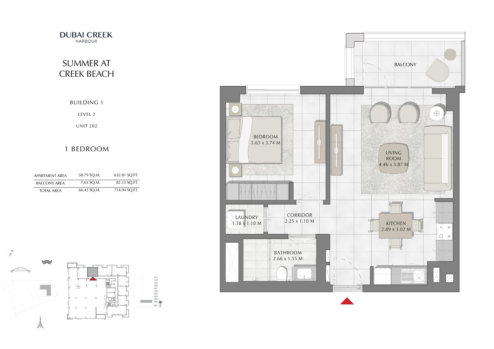 1 Br Building 1 Level 2 Unit 202, Size 714 Sq Ft