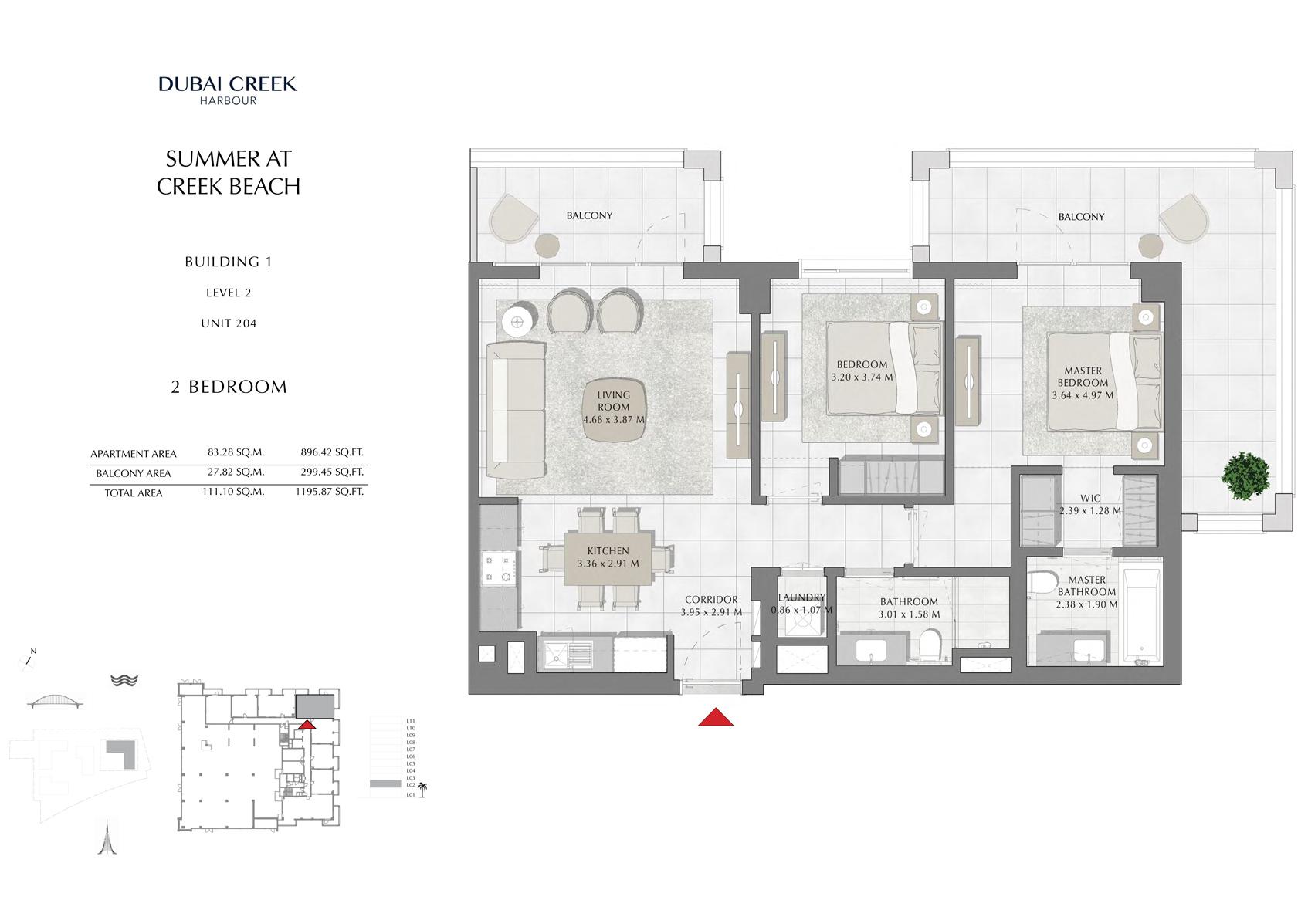 1 Br Building 1 Level 2 Unit 204, Size 1195 Sq Ft