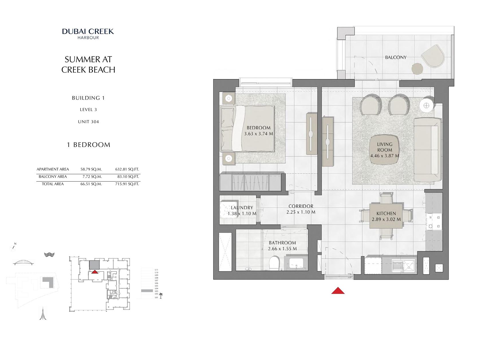 1 Br Building 1 Level 3 Unit 304, Size 715 Sq FT