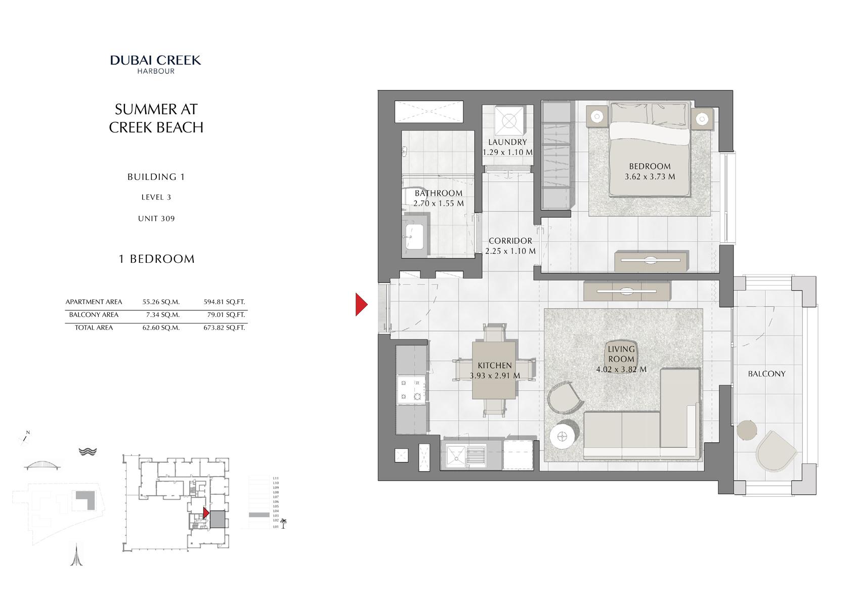 1 Br Building 1 Level 3 Unit 309, Size 673 Sq Ft