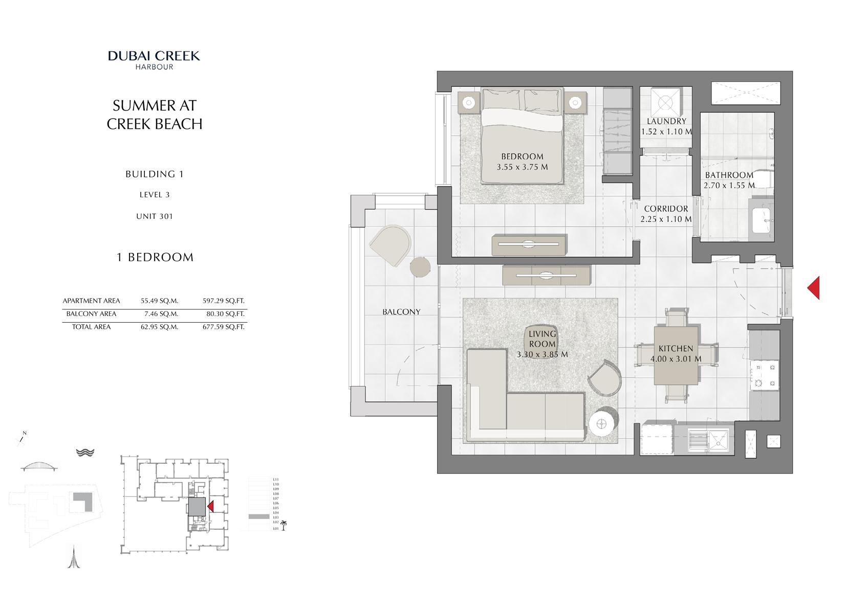1 Br Building 1 Level-4-6-8-10 Unit 401-601-801-1001, Size 677 Sq Ft