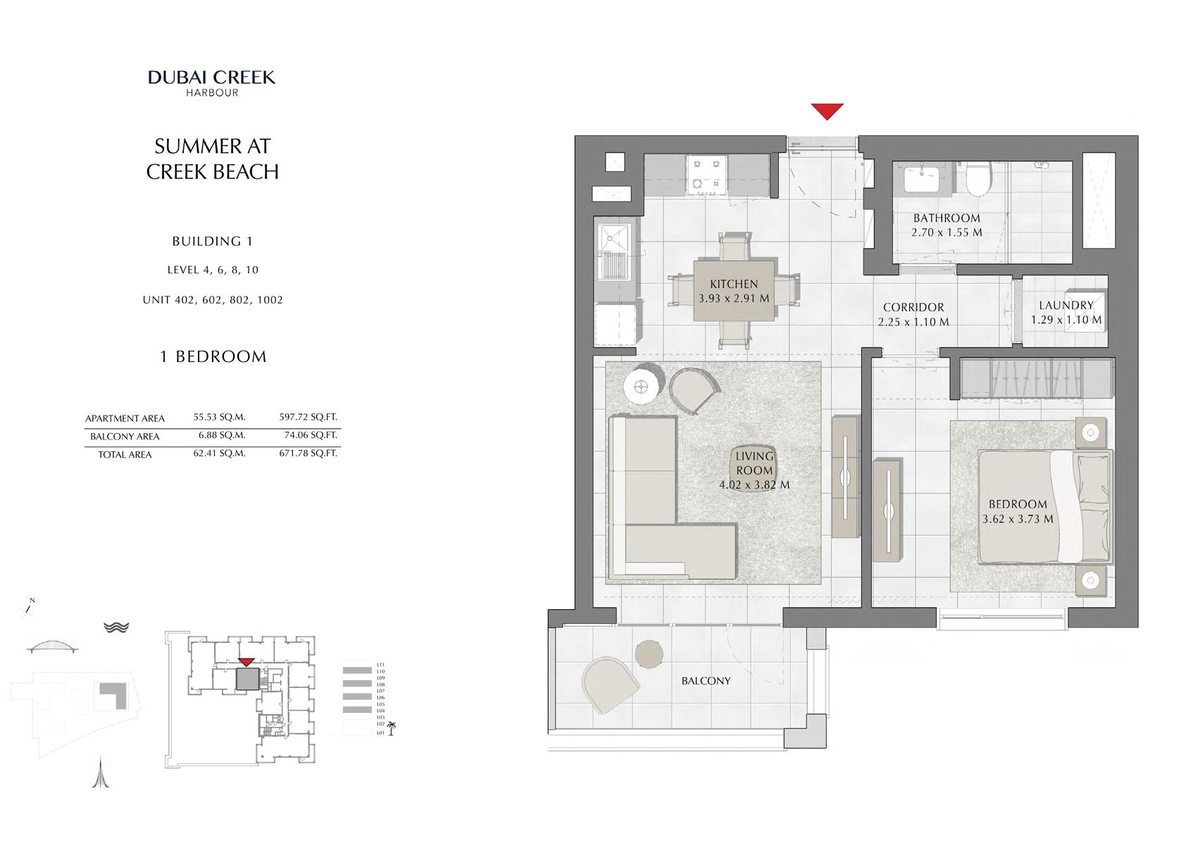1 Br Building 1 Level-4-6-8-10 Unit 402-602-802-1002, Size 671 Sq Ft