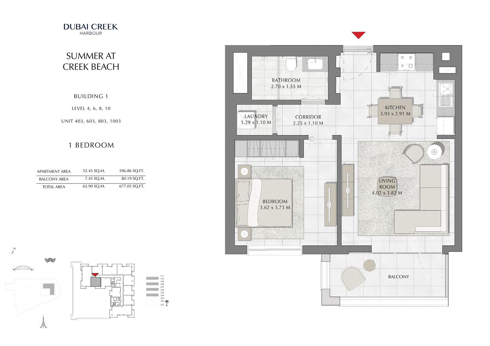 1 Br Building 1 Level-4-6-8-10 Unit 403-603-803-1003, Size 677 Sq Ft