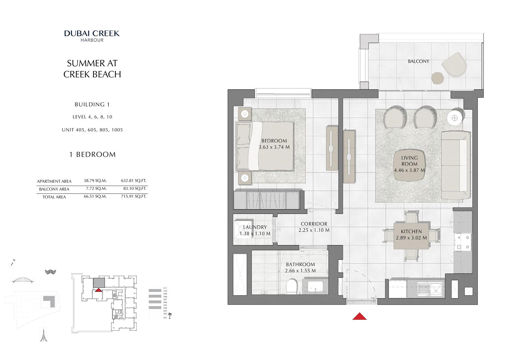 1 Br Building 1 Level-4-6-8-10 Unit 405-605-805-1005, Size 715 Sq Ft