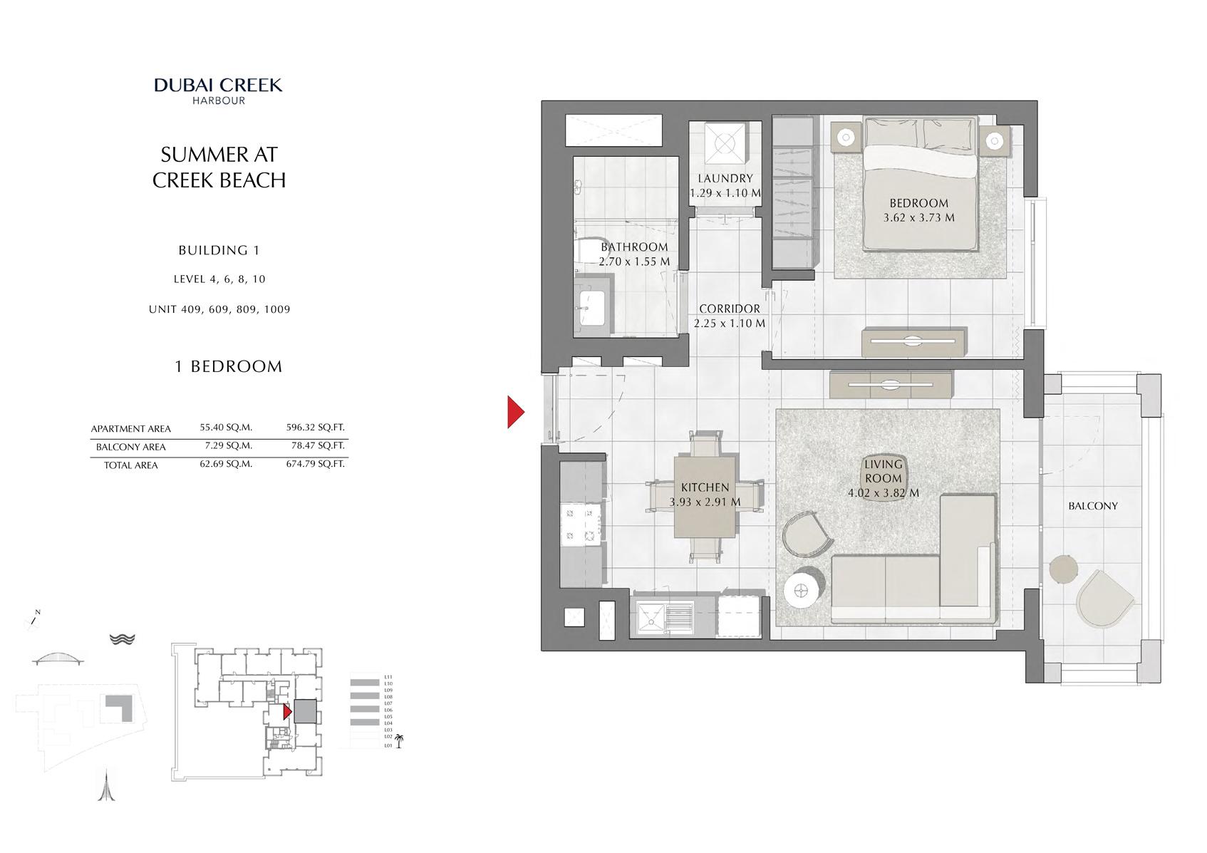 1 Br Building 1 Level-4-6-8-10 Unit 409-609-809-1009, Size 674 Sq Ft