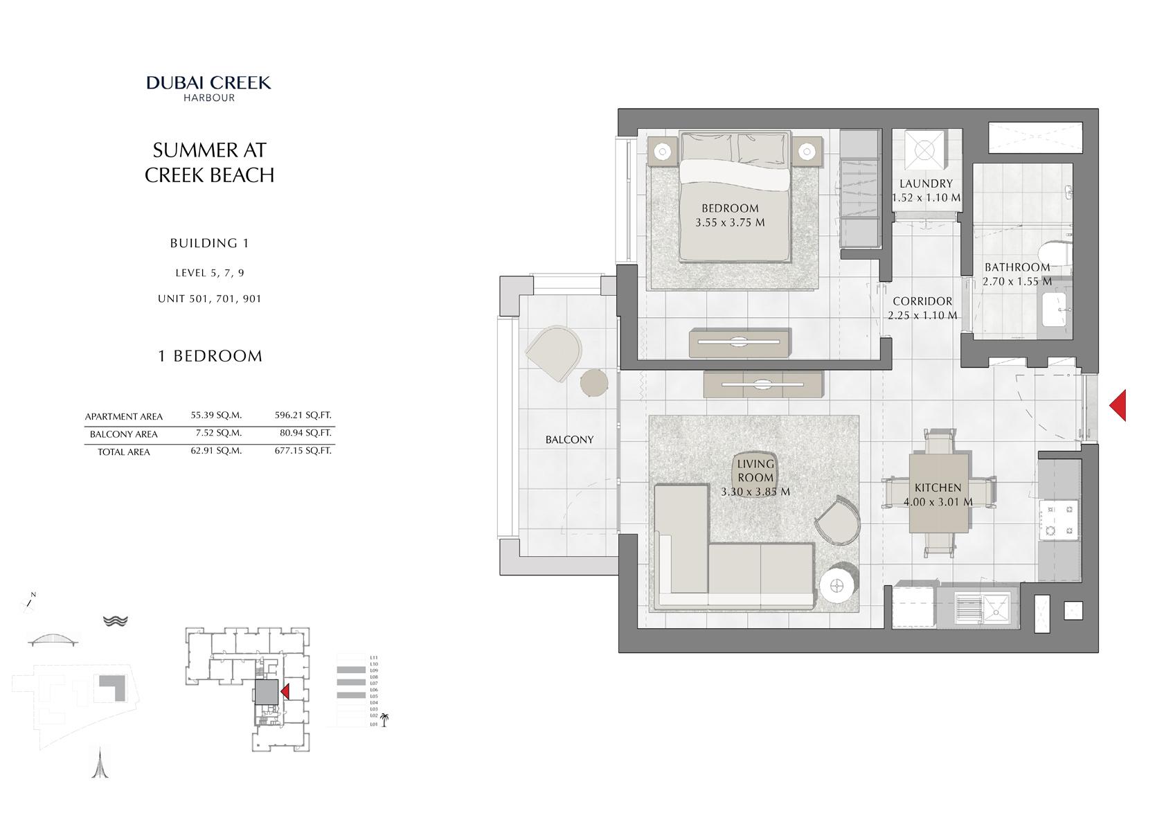 1 Br Building 1 level-5-7-9 Unit 501-701-901, Size 677 Sq FT