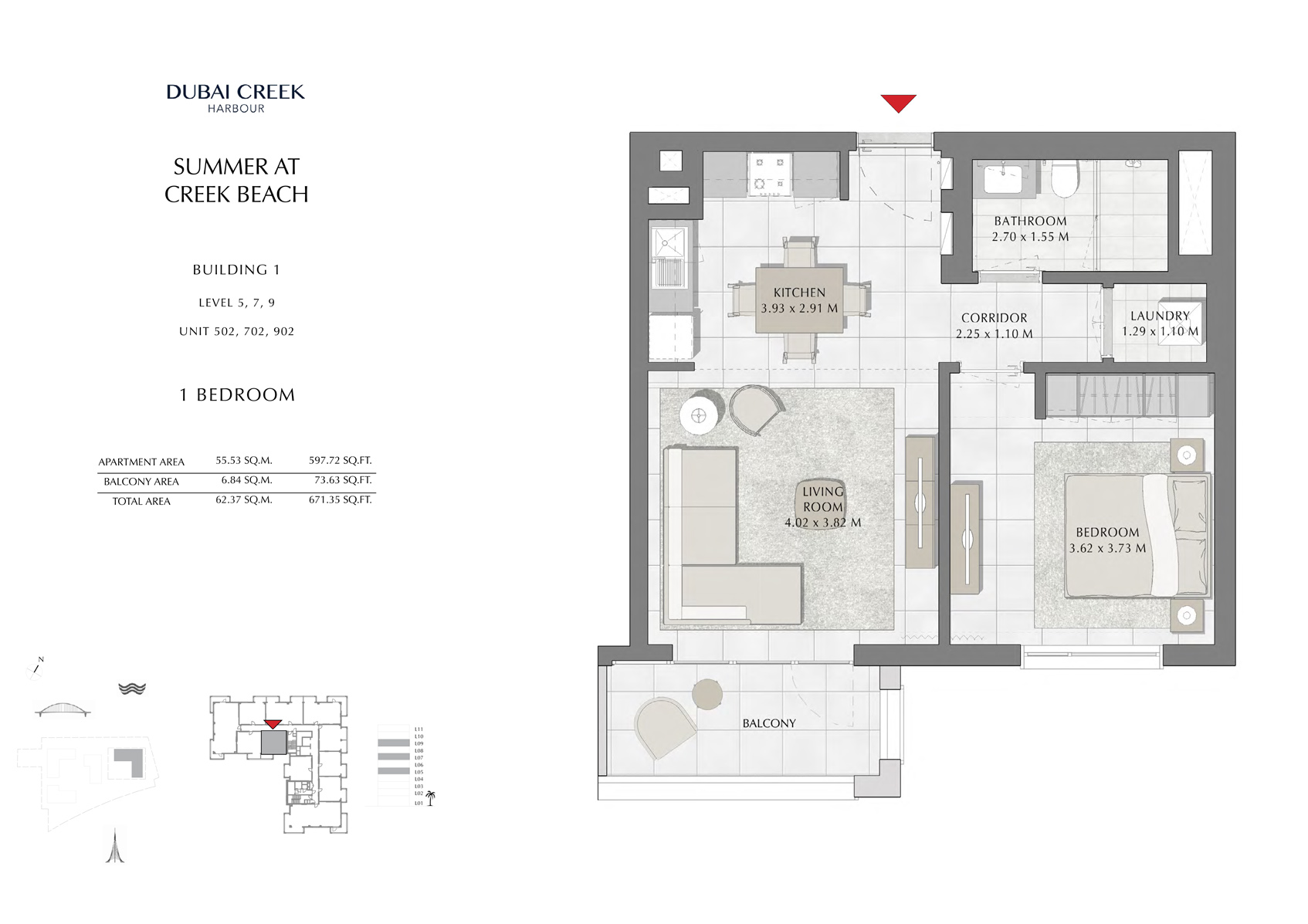 1 Br Building 1 Level-5-7-9 Unit 502-702-902, Size 671 Sq Ft