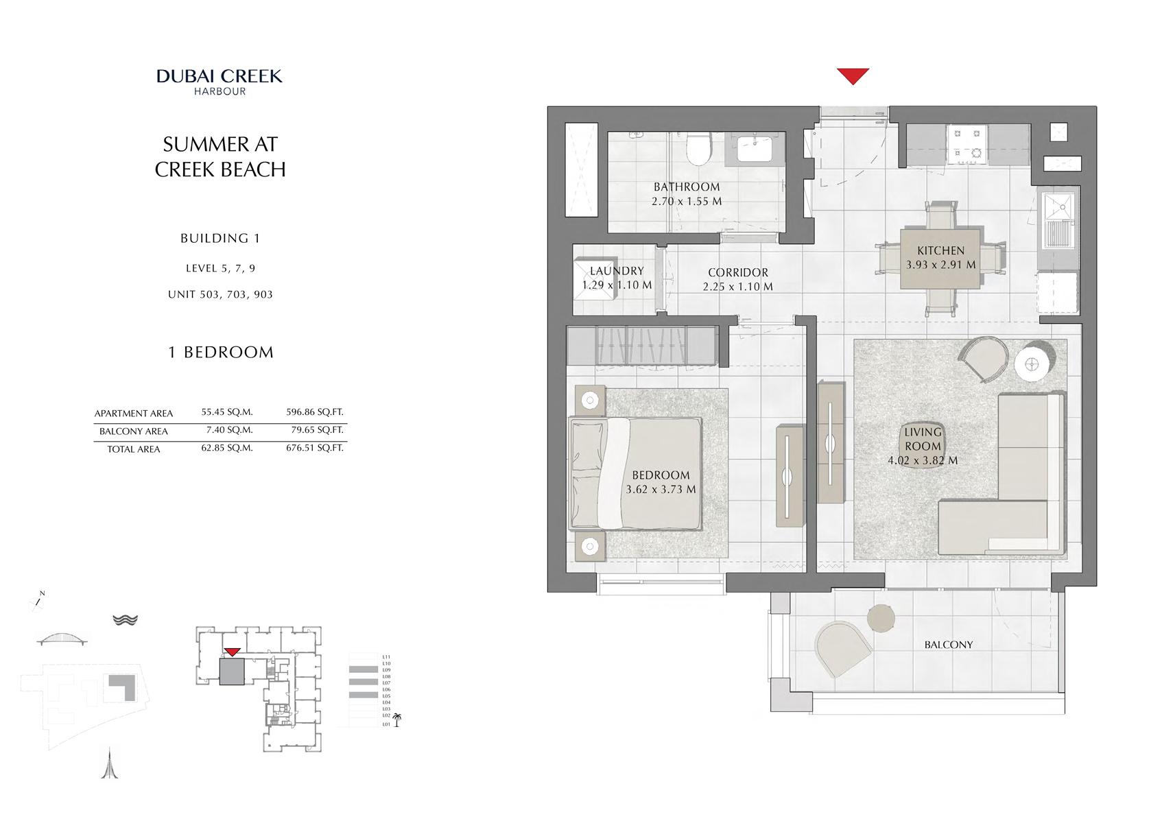 1 Br Building 1 Level-5-7-9 Unit 503-703-903, Size 676 Sq FT