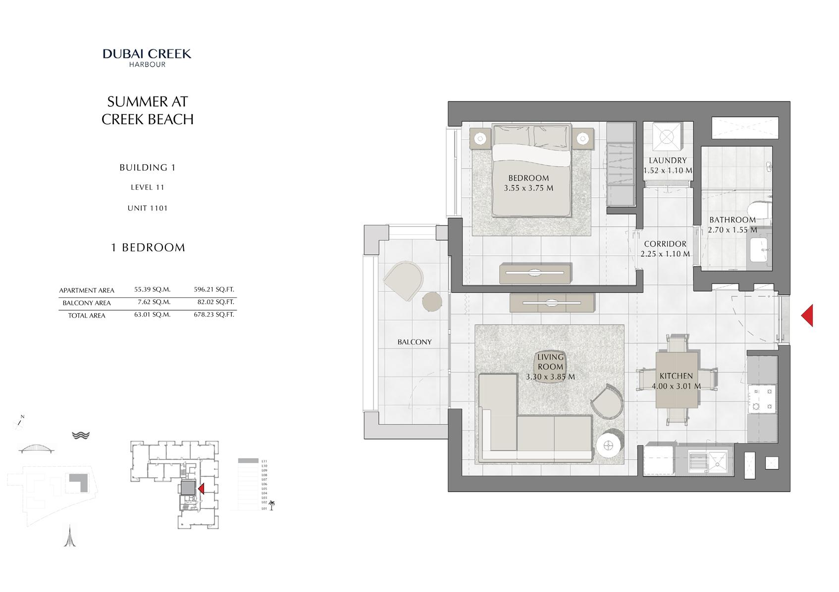 1 Br Building 1 Level 11 Unit 1101, Size 678 Sq Ft