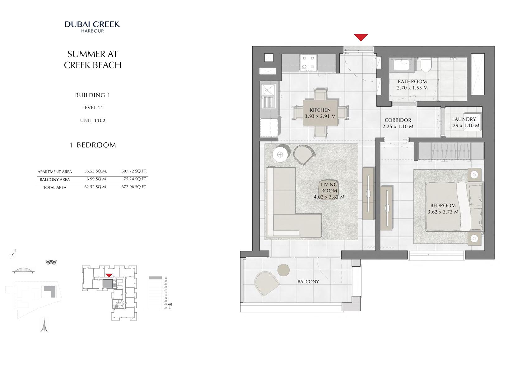 1 Br Building 1 Level 11 Unit 1102, Size 672 Sq Ft