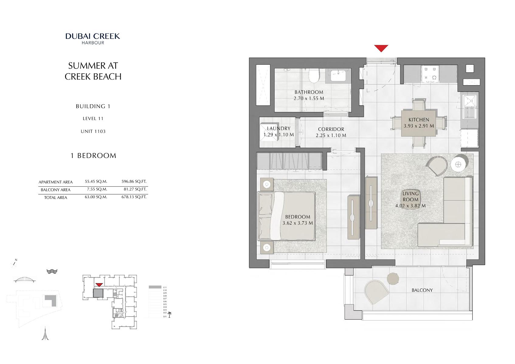 1 Br Building 1 Level 11 Unit 1103, Sq Ft 678