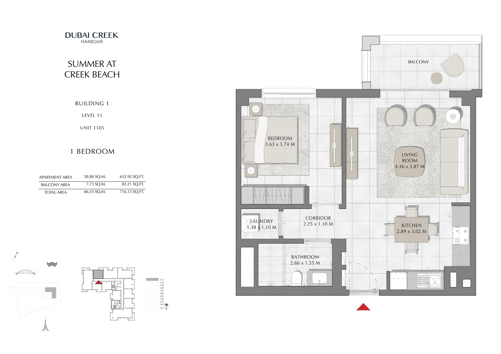 1 Br Building 1 Level 11 Unit 1105, Size 716 Sq Ft