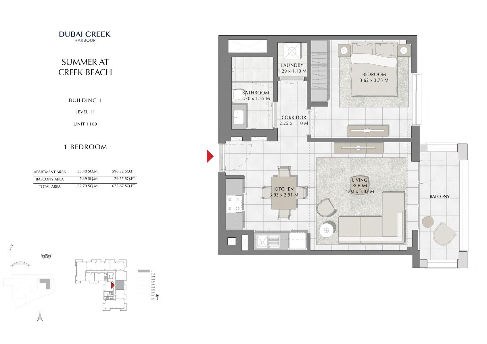 1 Br Building 1 Level 11 Unit 1109, Size 675 Sq Ft