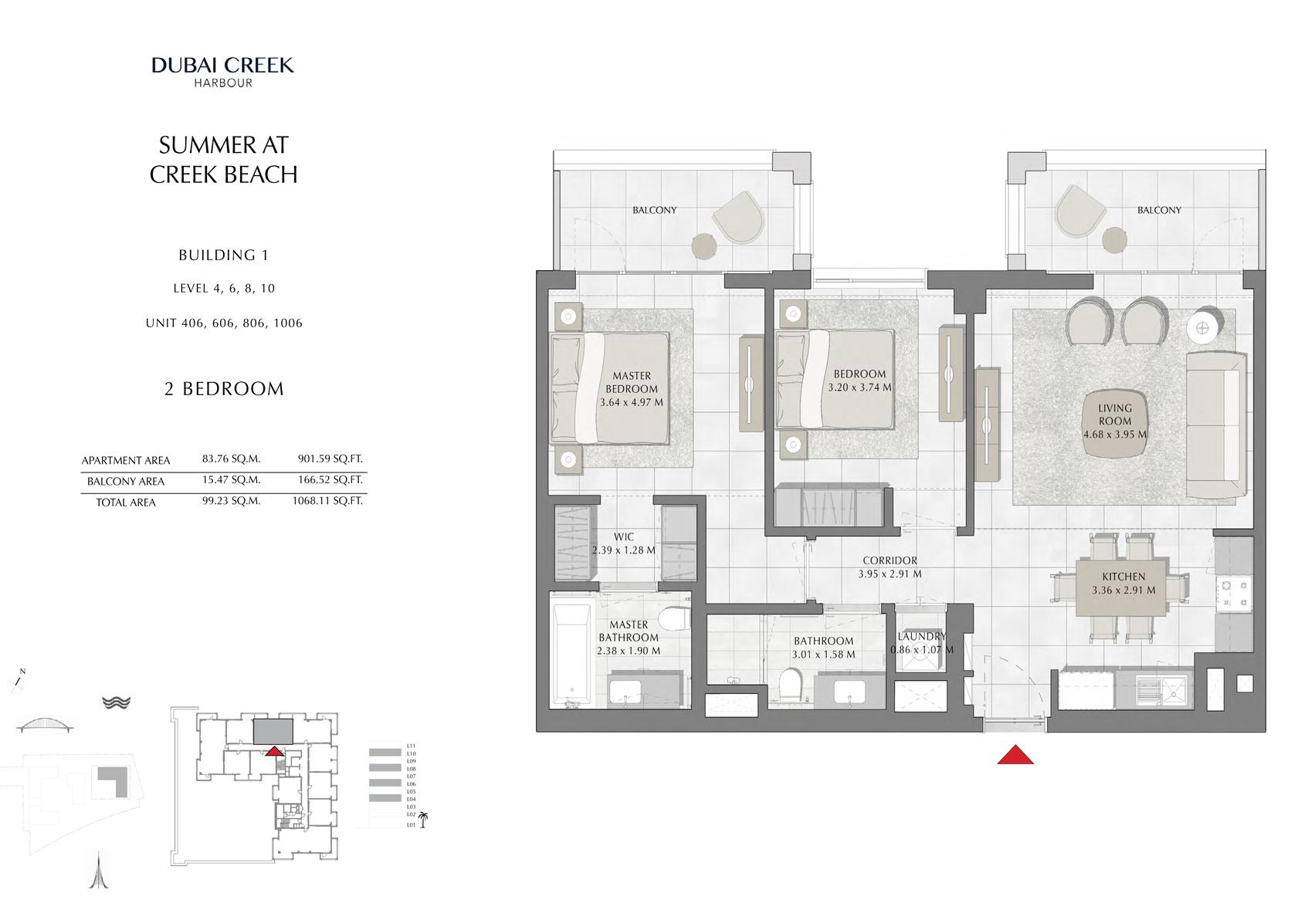 2 Br Building 1 Level-4-6-8-10 Unit 406-606-806-1006, Size 1068 Sq Ft