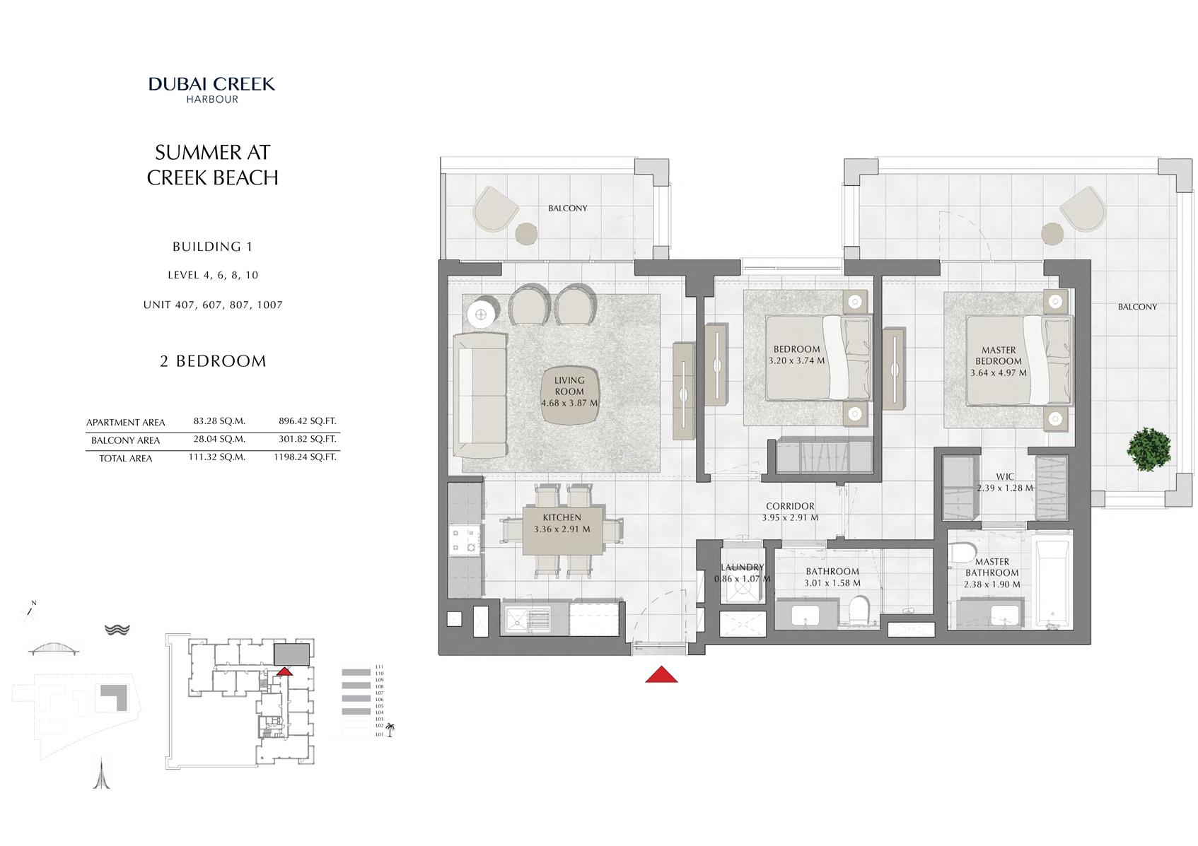 2 Br Building 1 Level-4-6-8-10 Unit 407-607-807-1007, Size 1198 Sq Ft