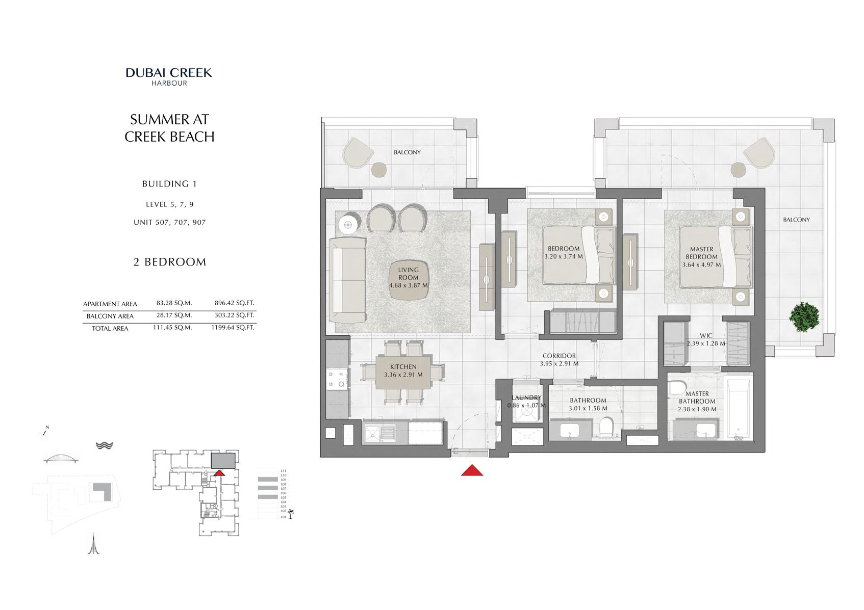 2 Br Building 1 Level-5-7-9 Unit 507-707-907, Size 1199 Sq Ft