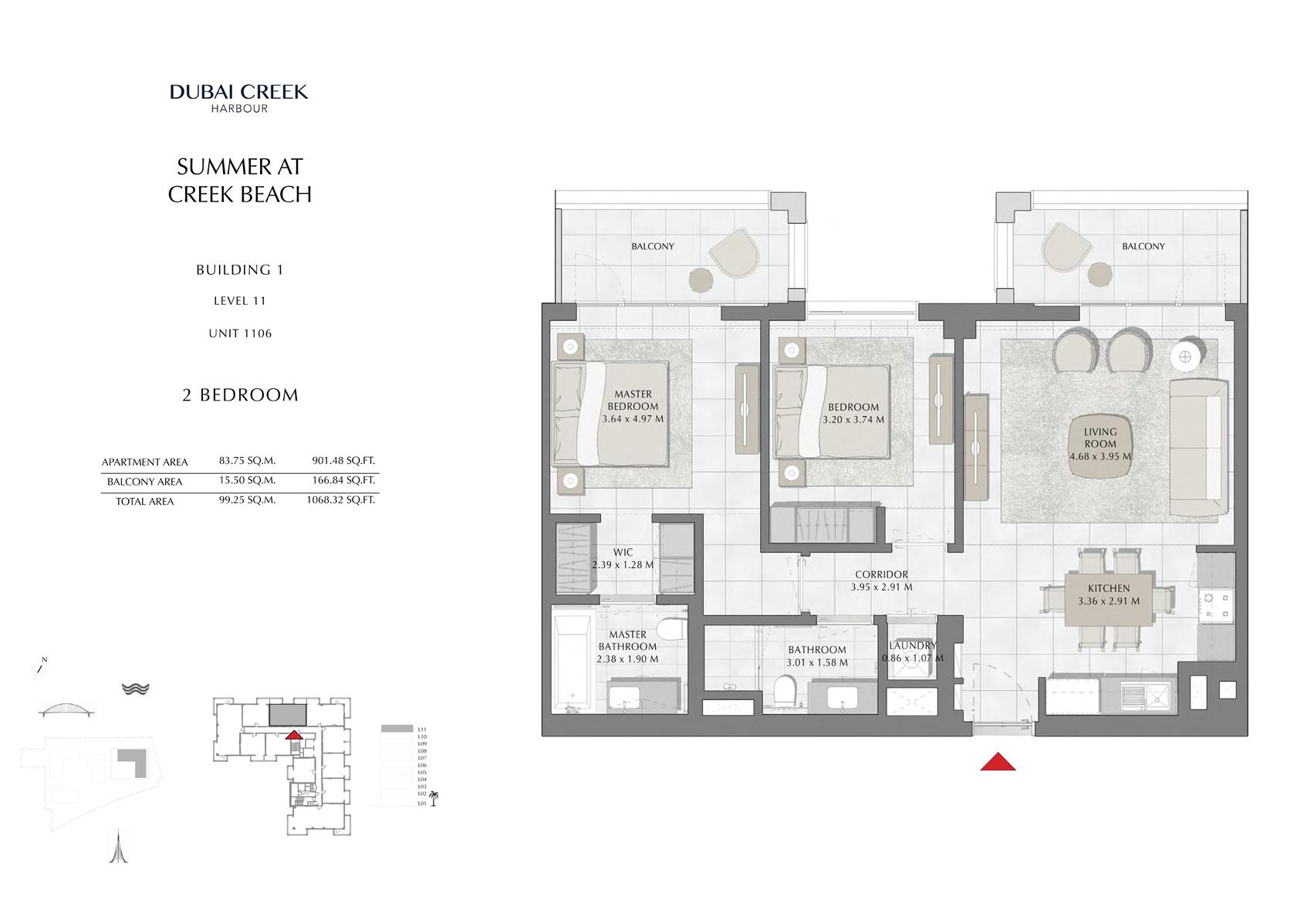 2 Br Building 1 Level 11 Unit 1106, Size 1068 Sq Ft