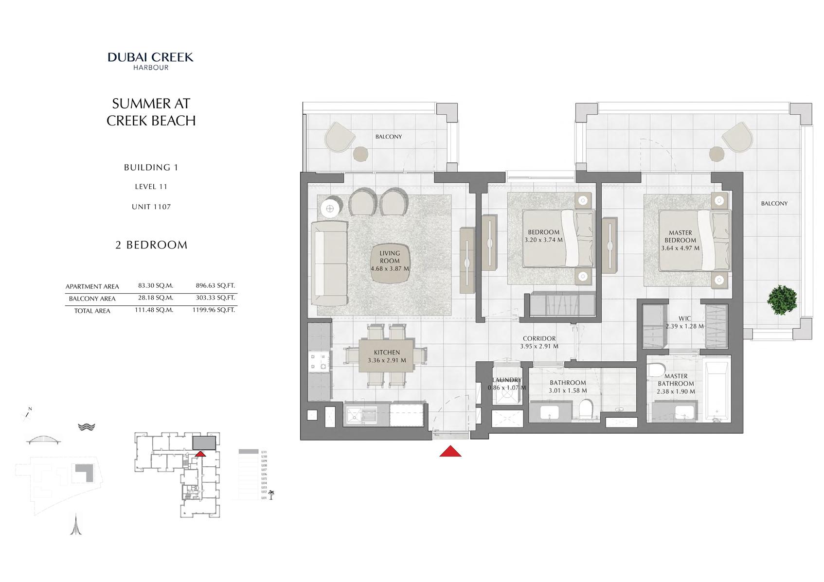 2 Br Building 1 Level 11 Unit 1107, Size 1199 Sq Ft