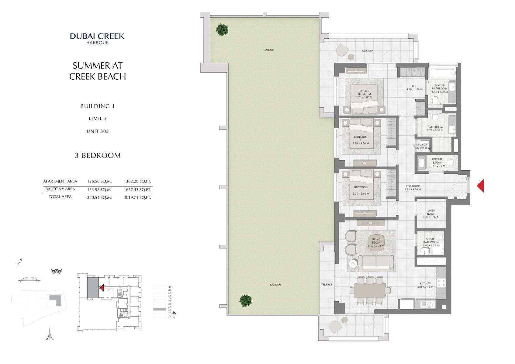 3 Br Building 1 Level 3 Unit 303, Size 3019 Sq Ft