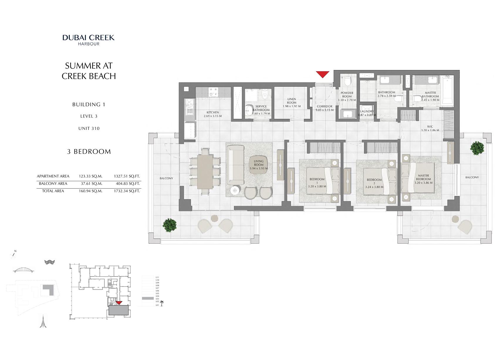 3 Br Building 1 Level 3 Unit 310, Size 1732 Sq Ft