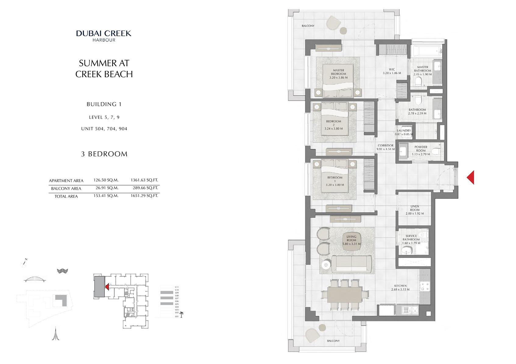 3 Br Building 1 Level-4-6-8-10 Unit 404-604-804-1004, Size 1651 Sq Ft
