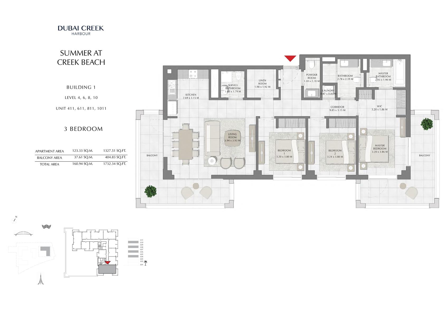 3 Br Building 1 Level-4-6-8-10 Unit 411-611-811-1011, Size 1732 Sq Ft