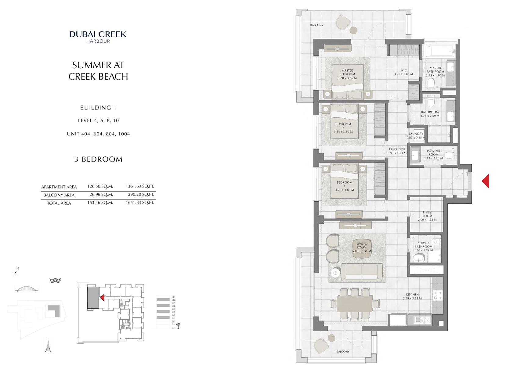 3 Br Building 1 Level-5-7-9 Unit 504-704-904, Size 1651 Sq Ft