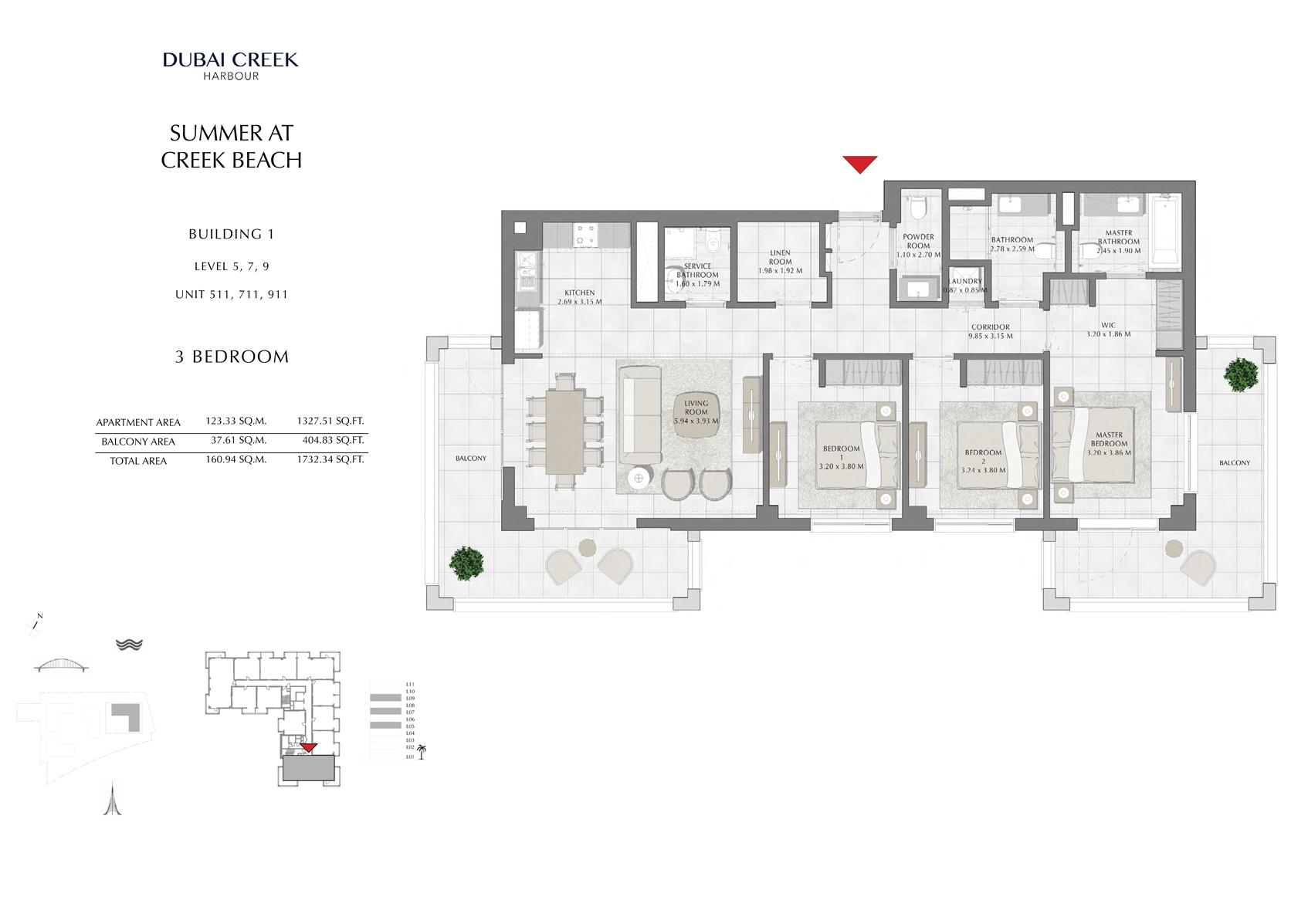 3 Br Building 1 Level-5-7-9 Unit 511-711-911, Size 1732 Sq Ft