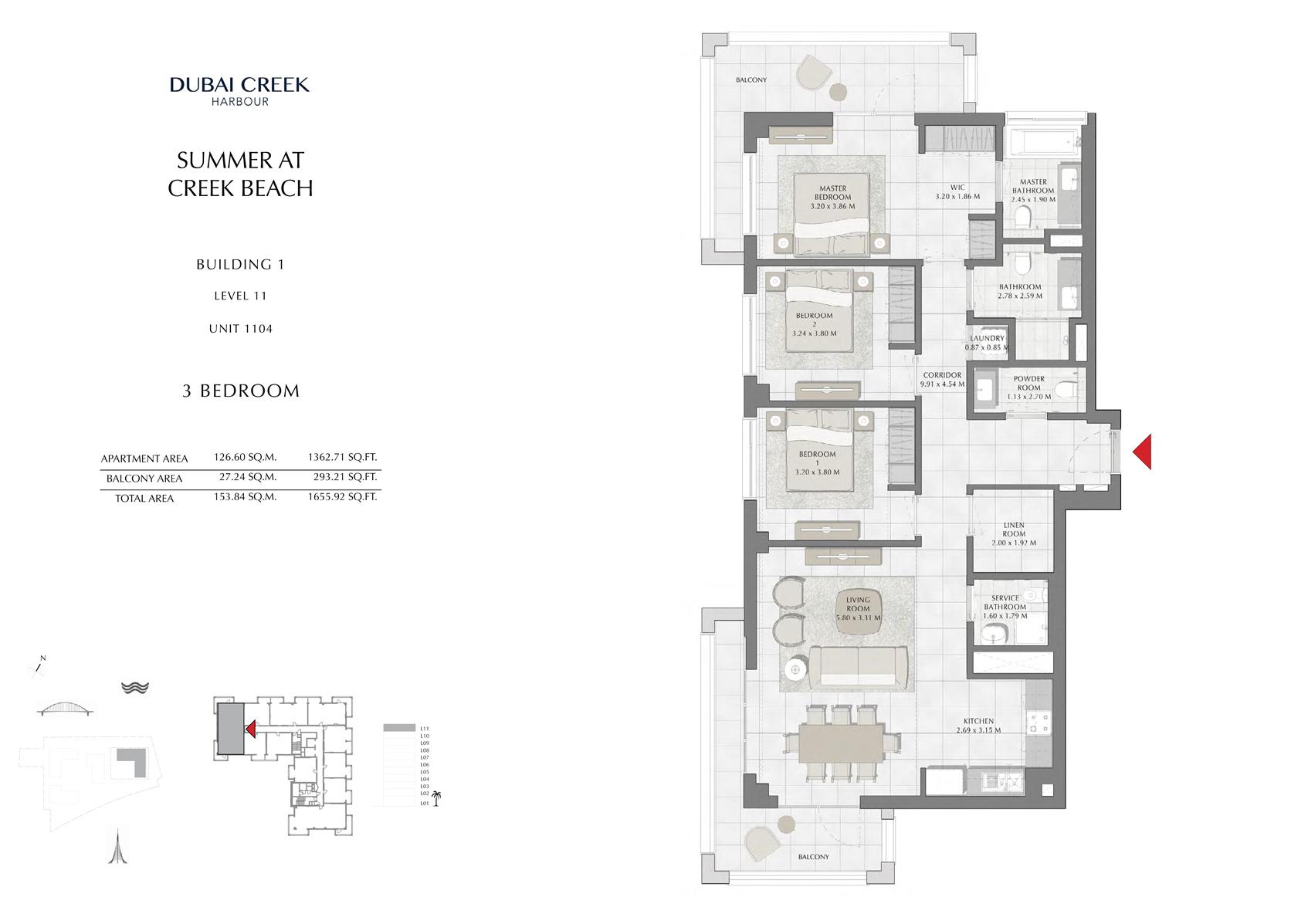 3 Br Building 1 Level 11 Unit 1104, Size 1655 Sq Ft